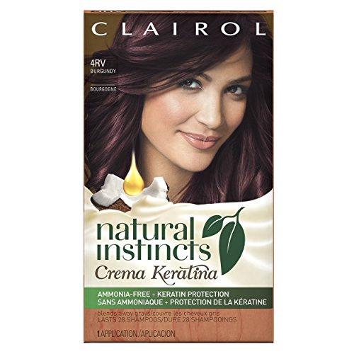 Clairol Natural Instincts Crema Keratina Hair Color Kit, Burgundy 4RV Eggplant Crème. review