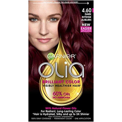 Garnier Olia Hair Color, 4.60 Dark Intense Auburn, Ammonia Free Red Hair Dye review