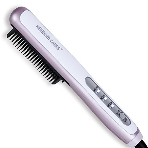 Kingdomcares Hair Straightener Brush, PTC Faster Heating Straightening Brush Styler at Home Purple review