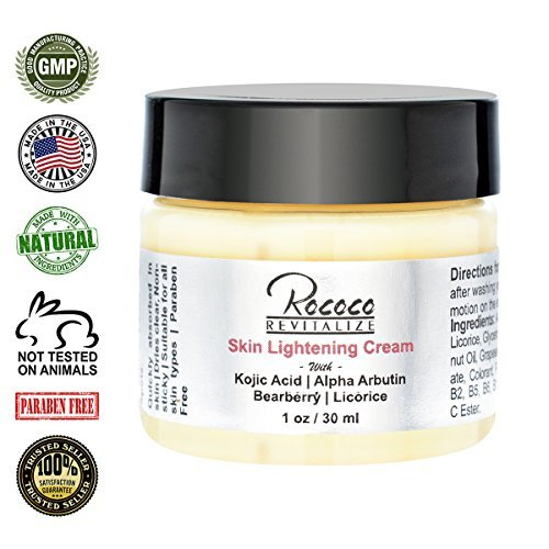 Skin Lightening Cream with Kojic Acid Alpha Arbutin Bearberry Licorice