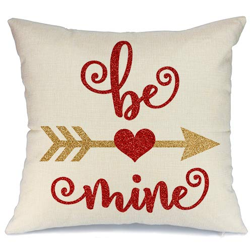 AENEY Valentines Pillow Cover 18x18 for Couch Hot Love Red Sweet Heart Be Mine.