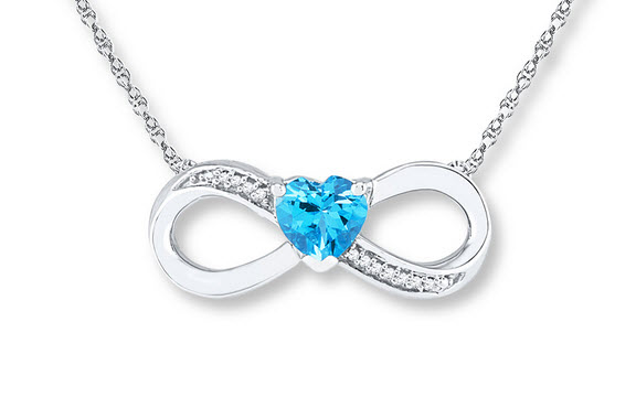 silver infinity necklace with blue heart stone
