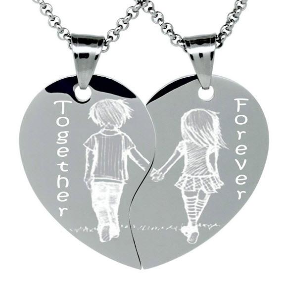 together forever split heart necklace